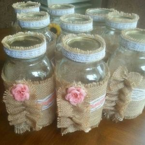 10 Jars Burlap Wedding Party Gift